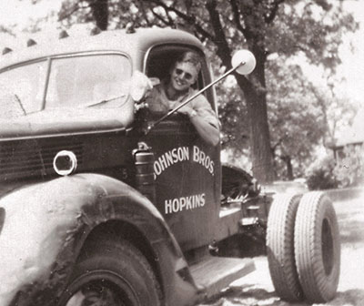 1951 – Richard Johnson is shown here operating one of his first delivery trucks.